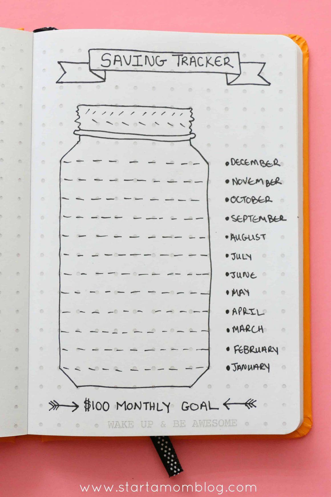 saving tracker bullet journal
